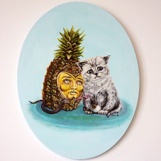 Even Pineapples Get The Blues, 2014, oils on canvas