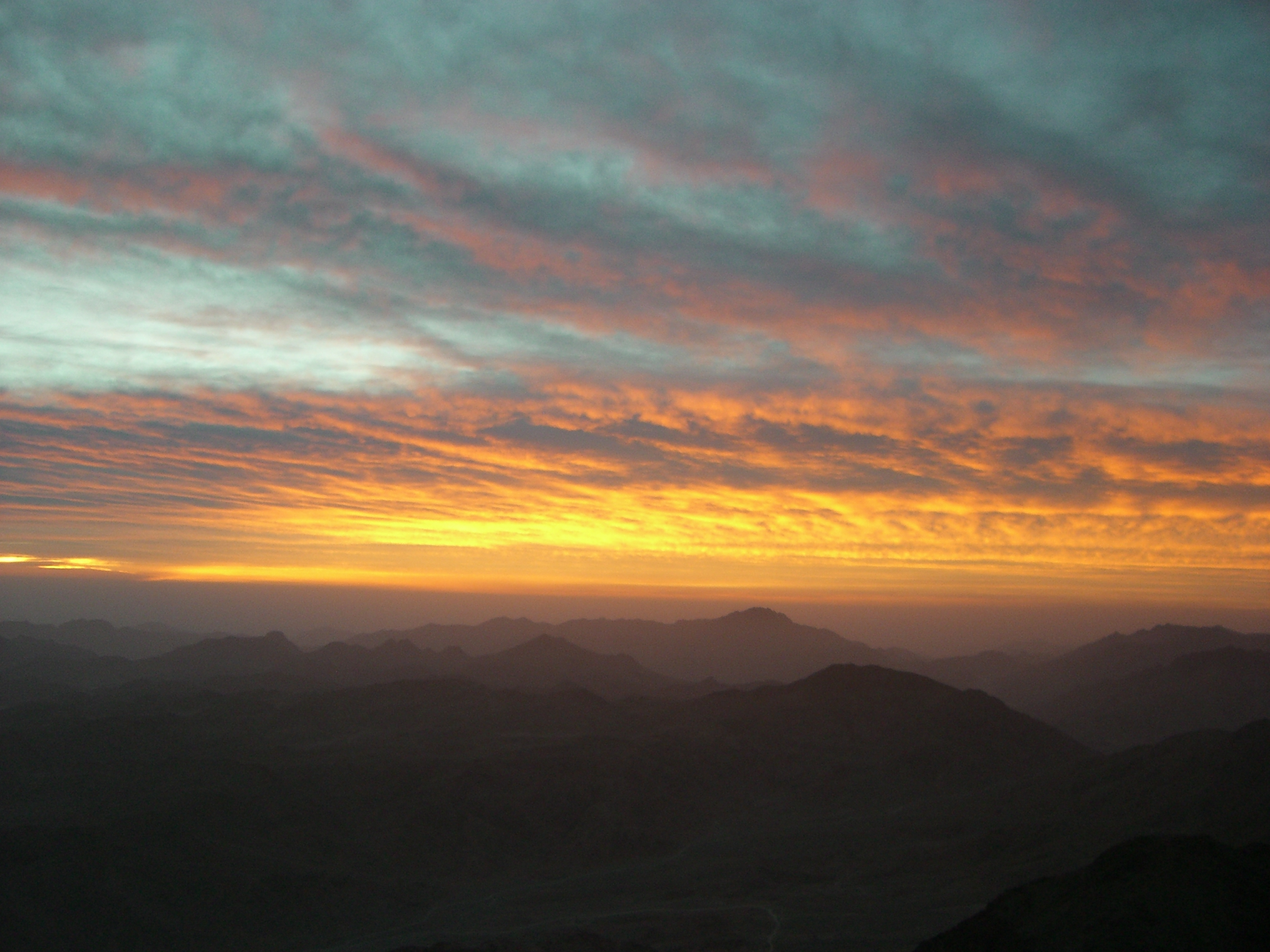 the sun rises over mount sinai, egypt