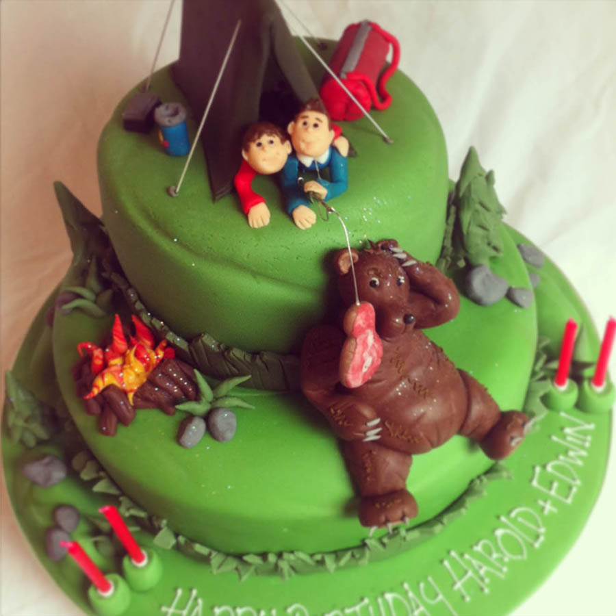 Grizzly Bear Camping Cake