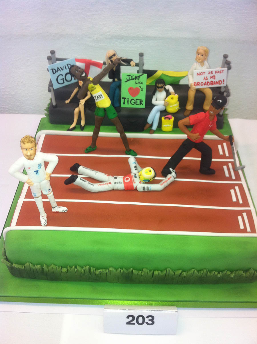 David Beckham, Usain Bolt, Lewis Hamilton and Tiger Woods Cake