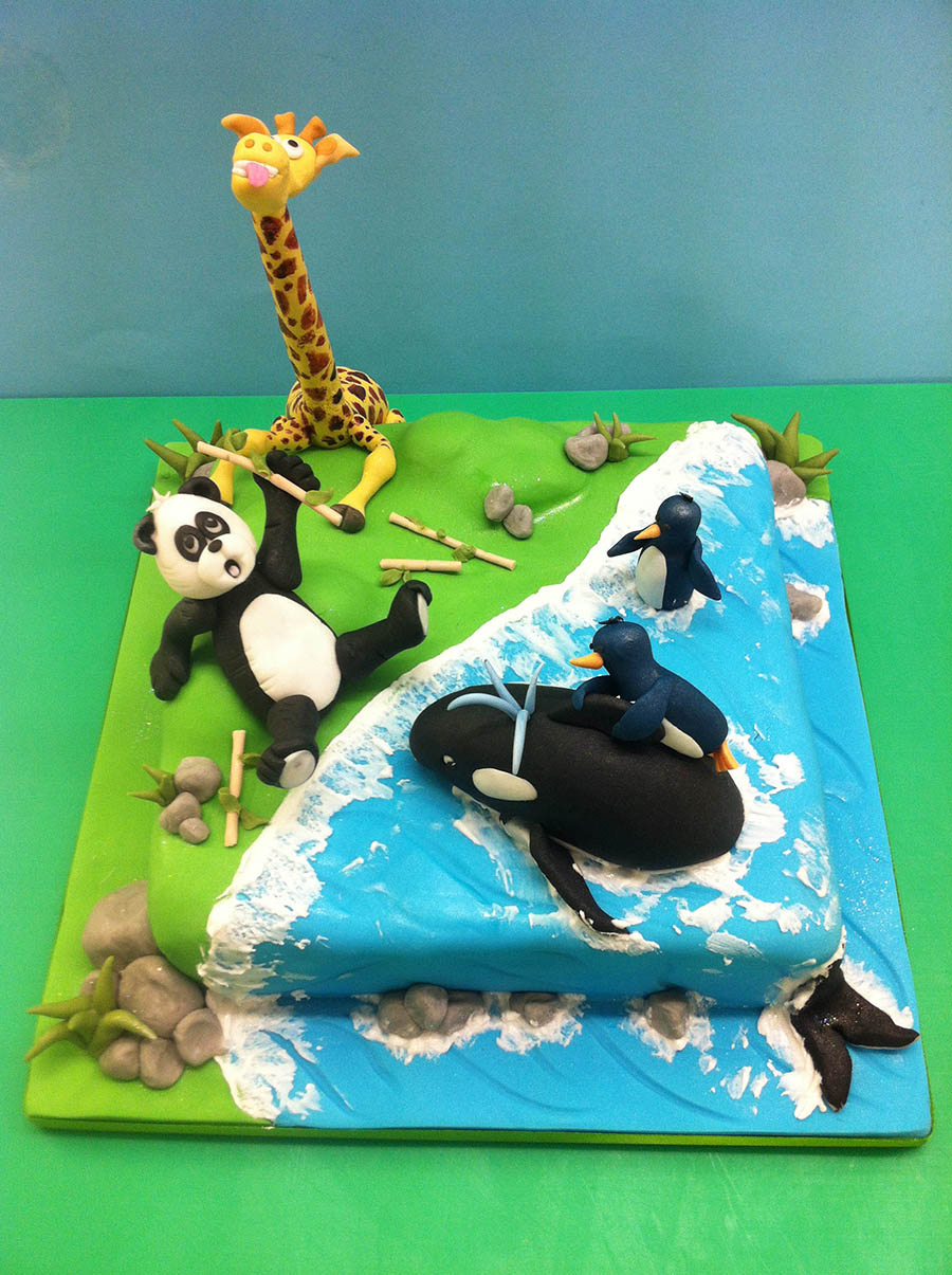 Panda, Giraffe and Whale Cake