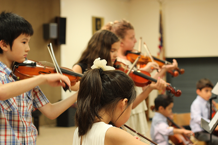 The beginning of the Fort Lee string ensemble.