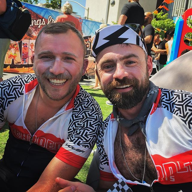 #💥 #💖 #congrats to #beardedriders @cliffomatic and @joshsassoon on their 7th and 8th @aidslifecycle #dtla #pride #💖 #🍾 #✨ !!!!! Love you guys!!!