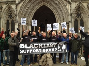 Blacklisted builders protest outside of the High Court.