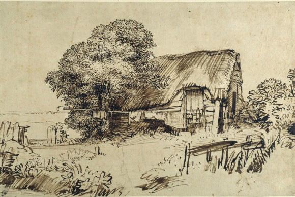 1650 Rembrandt Sketch of a Farm