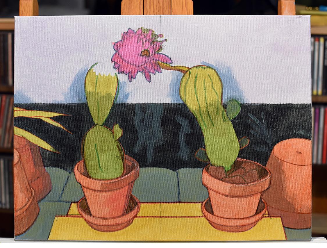 2019 Burmeister cacti pair underpainting