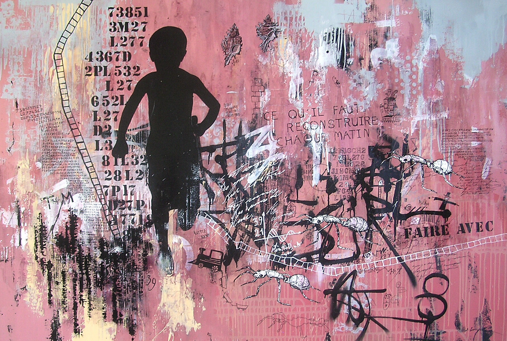 """Faire Avec"" Original Mixed Media on Boxed Canvas"