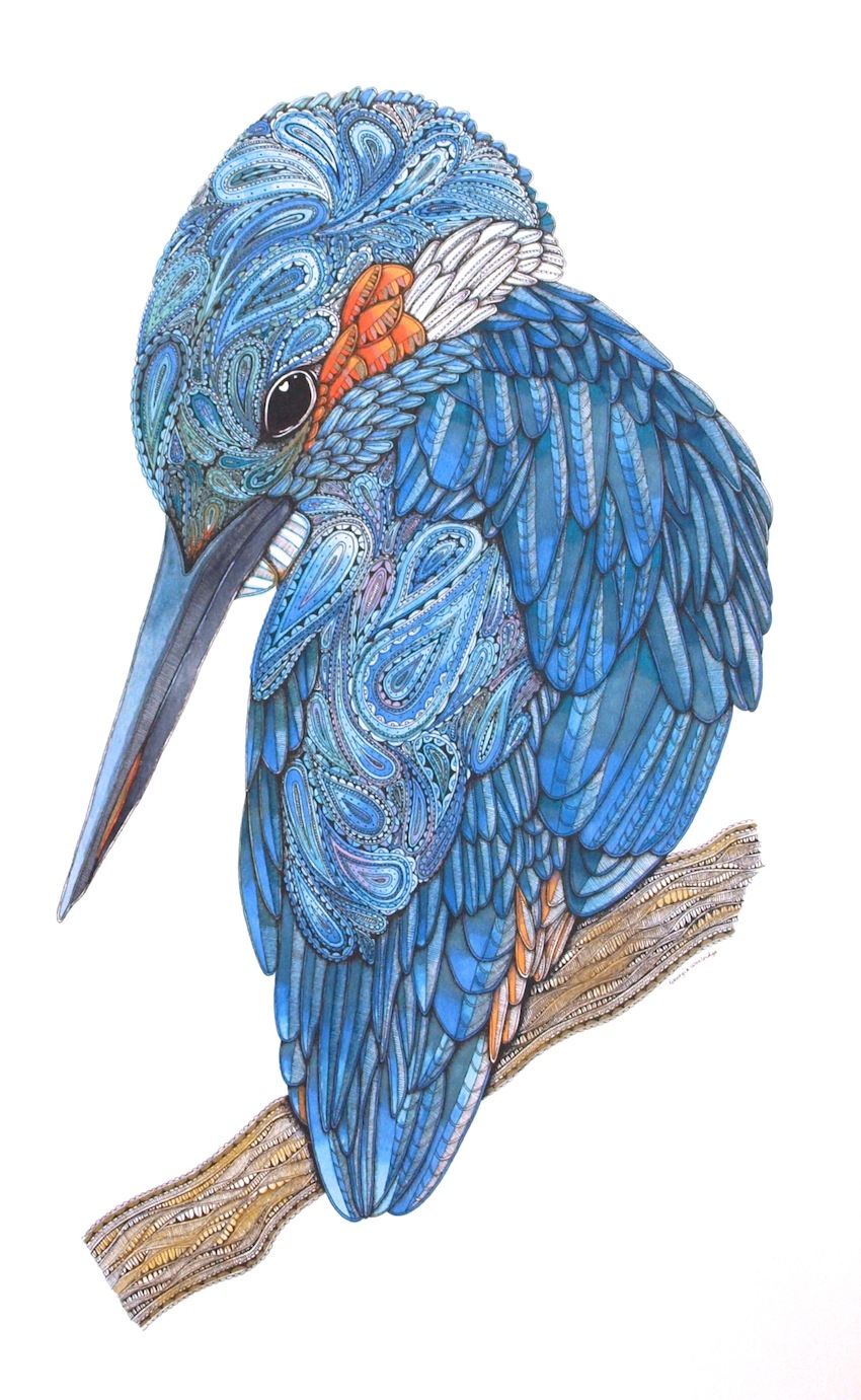 "Georgie Woolridge ""Kingfisher"" Original Mixed Media"