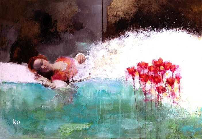 "Corinne Ko ""The Lady of the Lake"" Original Mixed Media on Canvas"