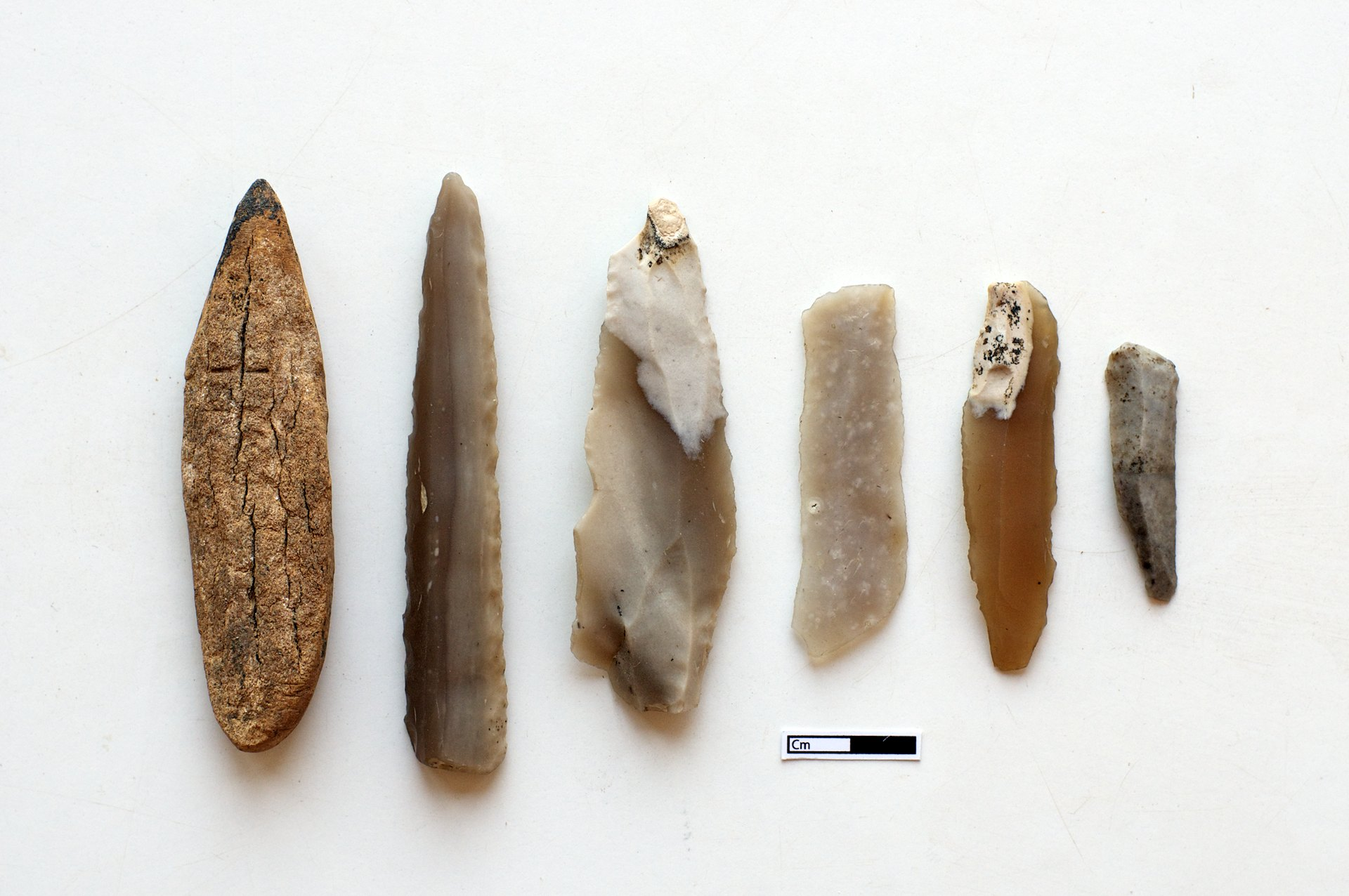 Worked flint and bone, Çatalhöyük, Turkey.