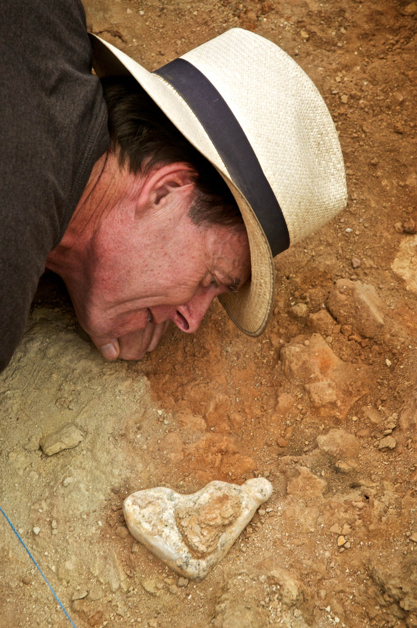 Ian Hodder admiring an in situ figuring before removal at Çatalhöyük, Turkey.