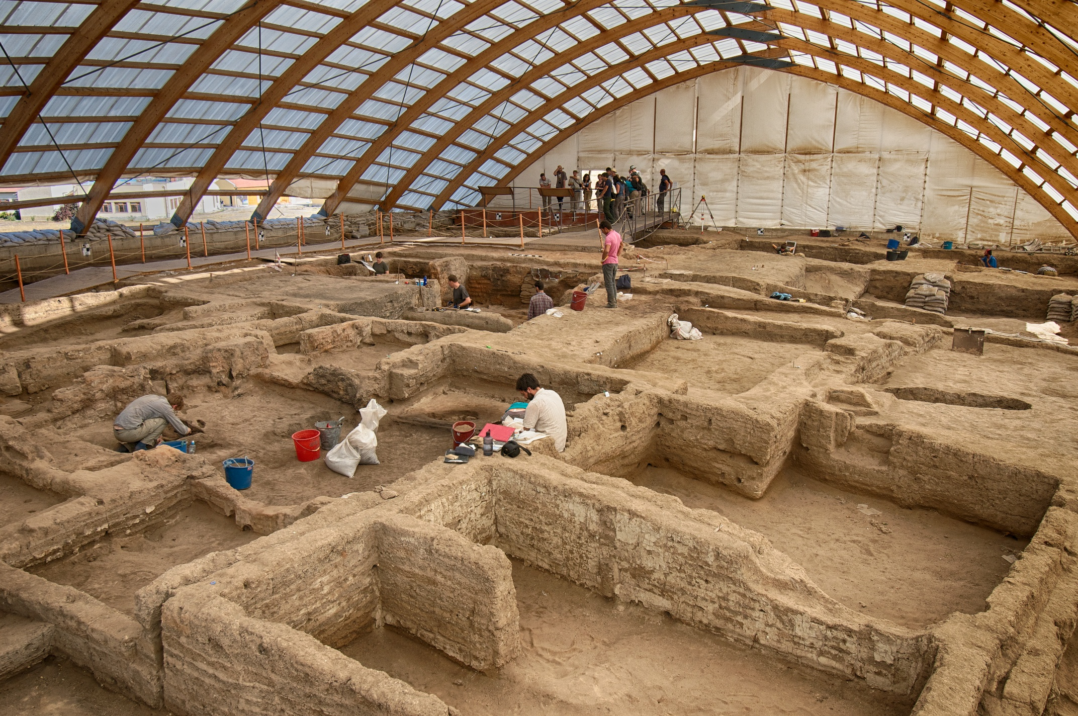 Wide view of the North Area excavation underneath the shelter.