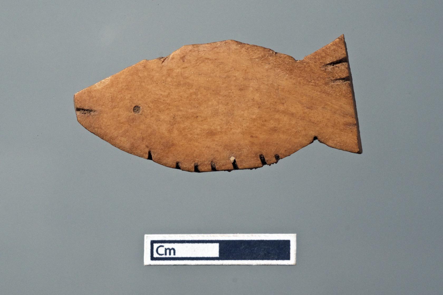 Worked Bone Fish Figurine, Karanis, Egypt.