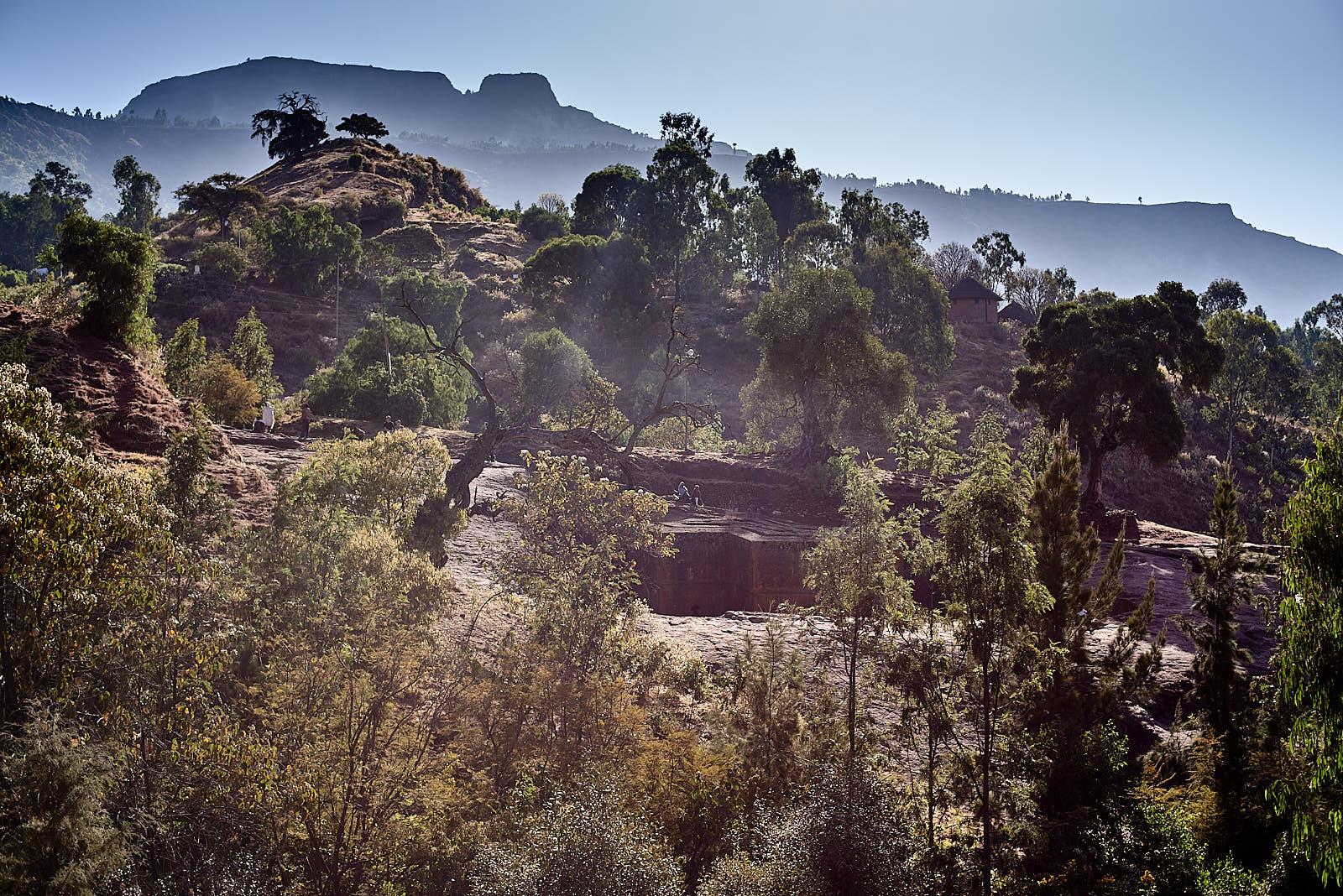 Tucked into the landscape, the Church of Saint George, Lalibela, Ethiopia.