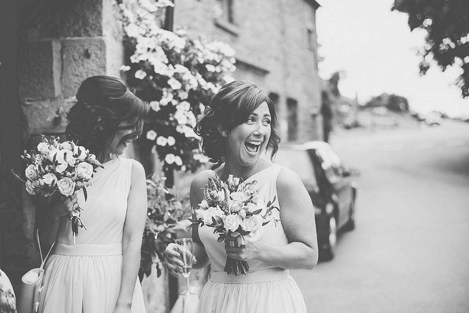 bridesmaids laughing at shireburn arms
