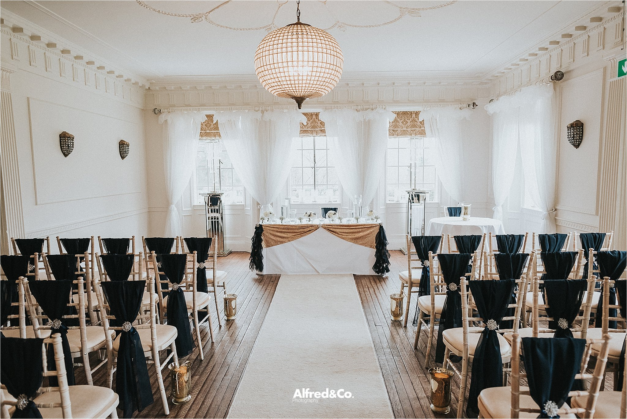 ceremony room at eaves hall in clitheroe