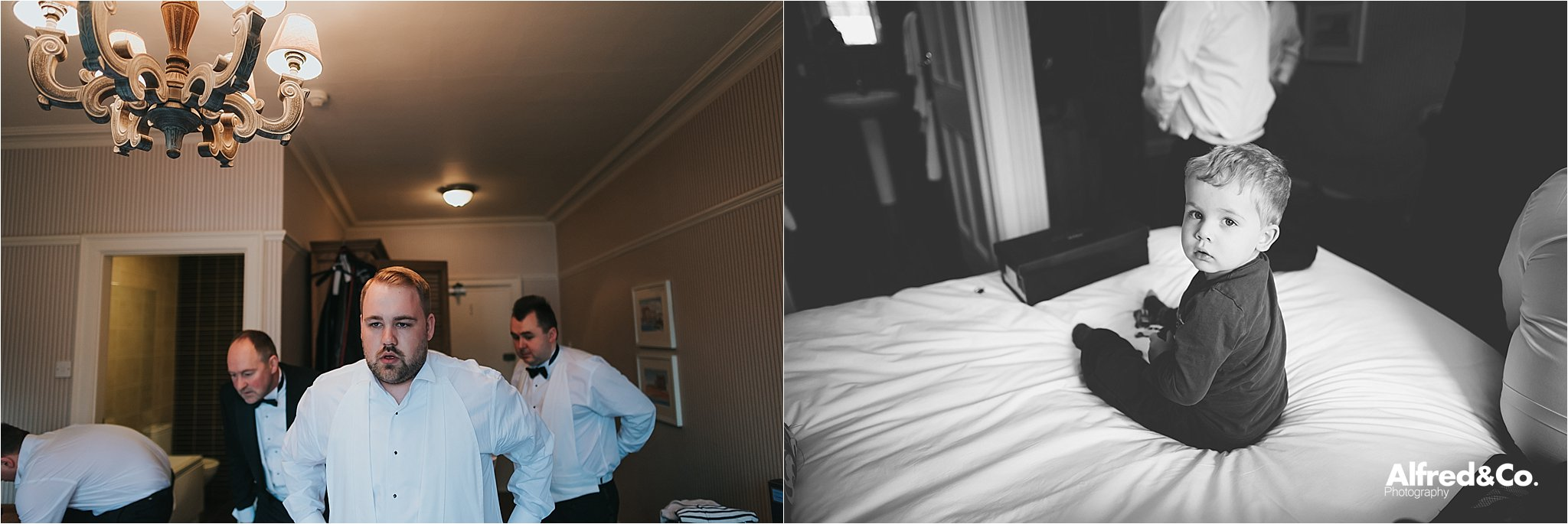 groom getting ready for wedding at eaves hall