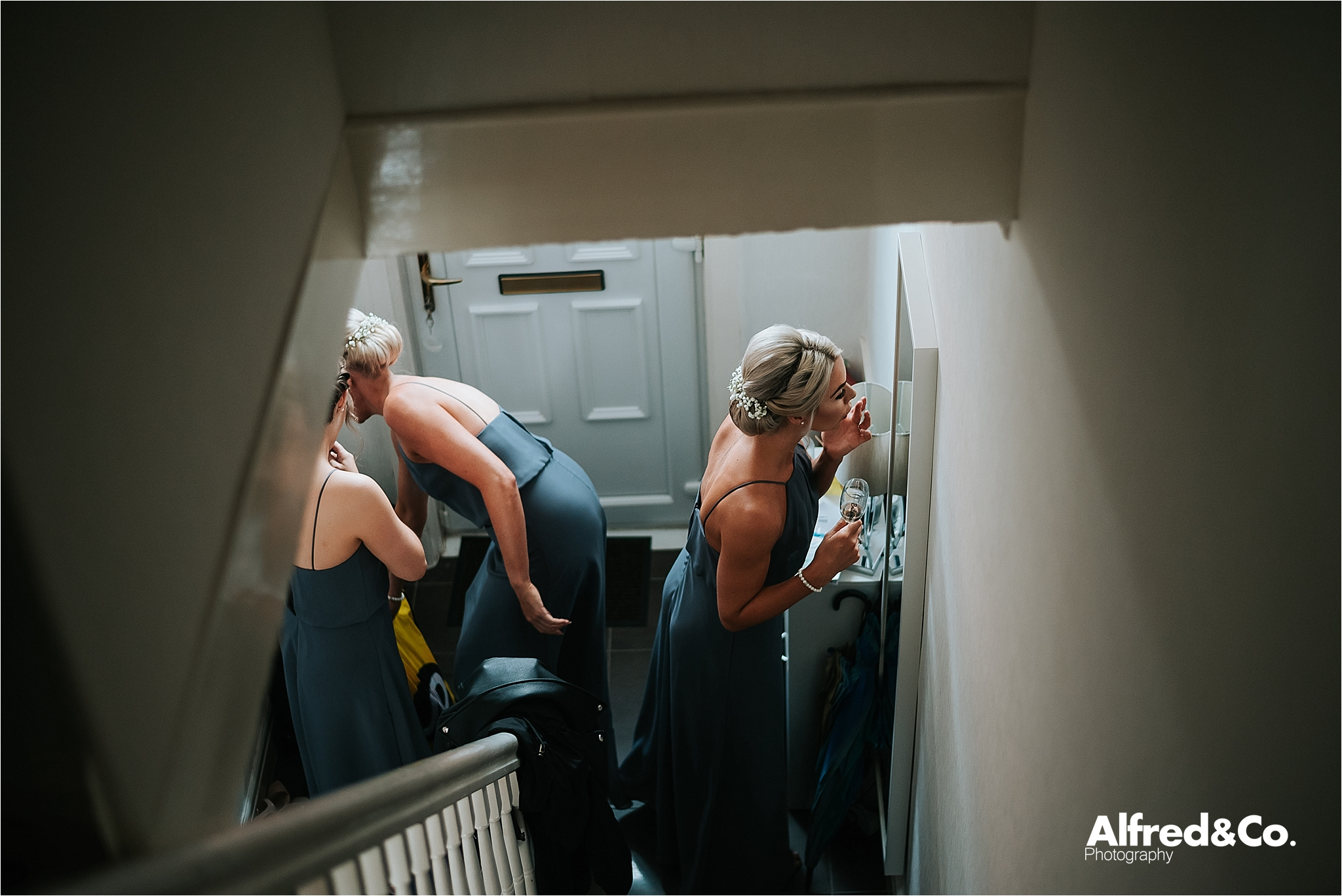 Bridesmaids getting ready for wedding in Bolton
