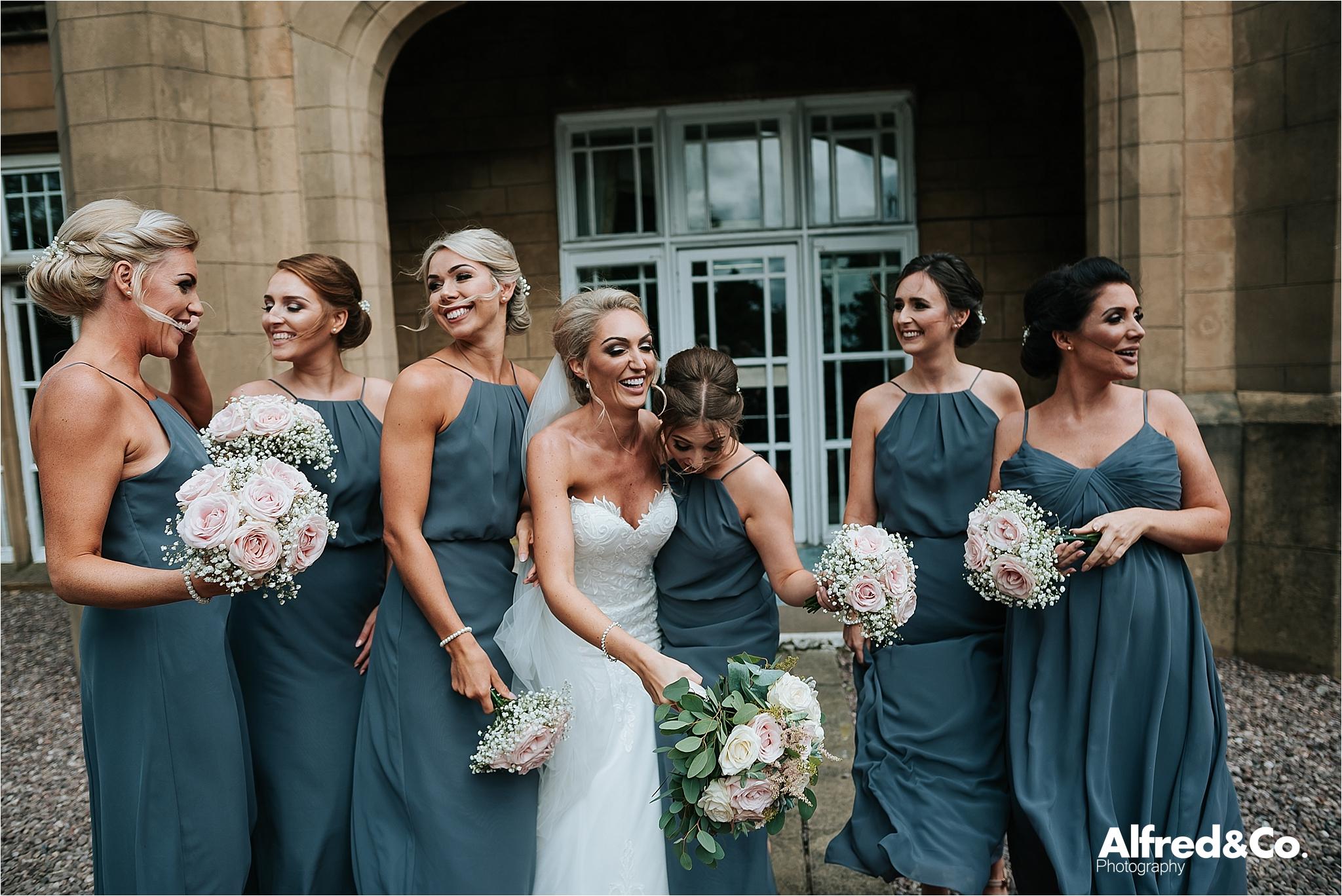Bridesmaids and Bride at Dunkenalgh Wedding