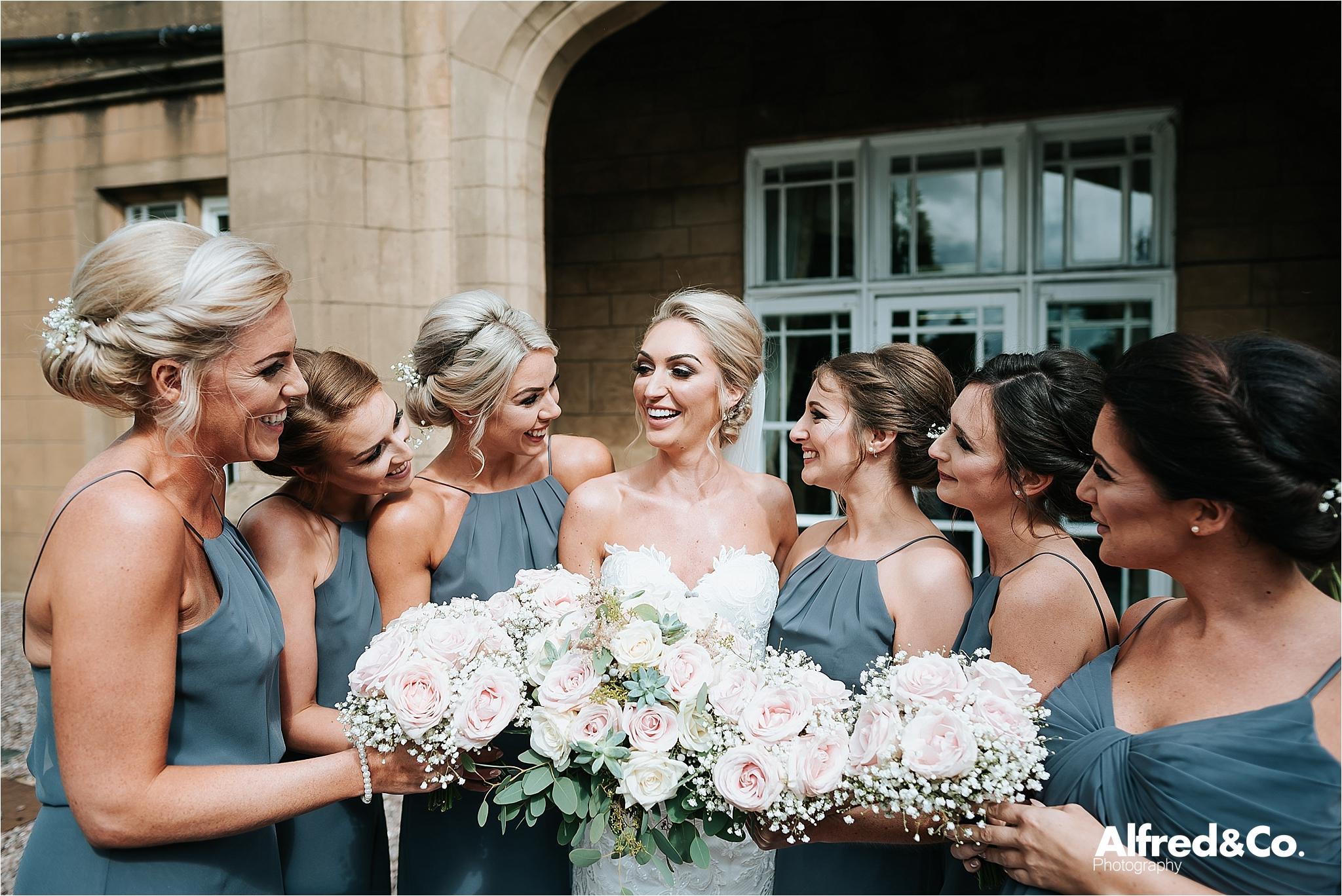 Bride and Bridesmaids at Dunkenalgh
