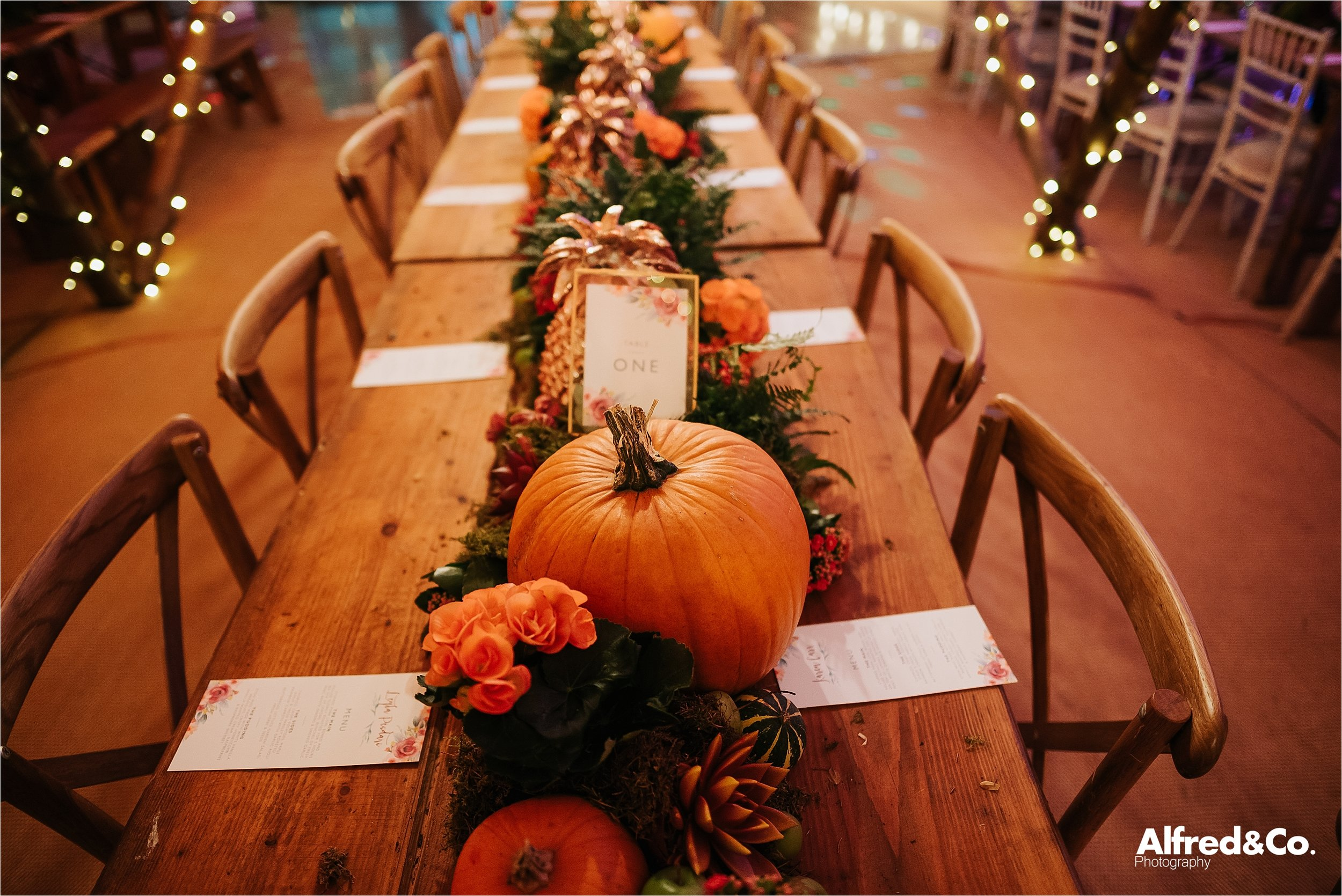 Autumn flower display for wedding
