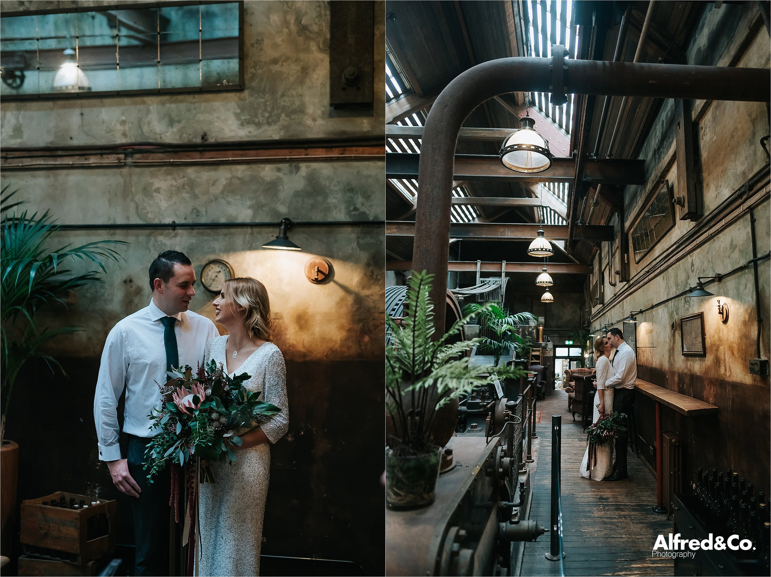 wedding pictures in the engine room at holmes mill
