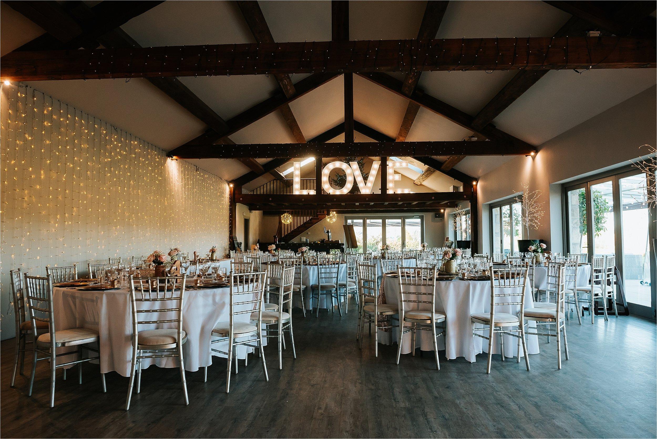 Inside of Yorkshire wedding barn