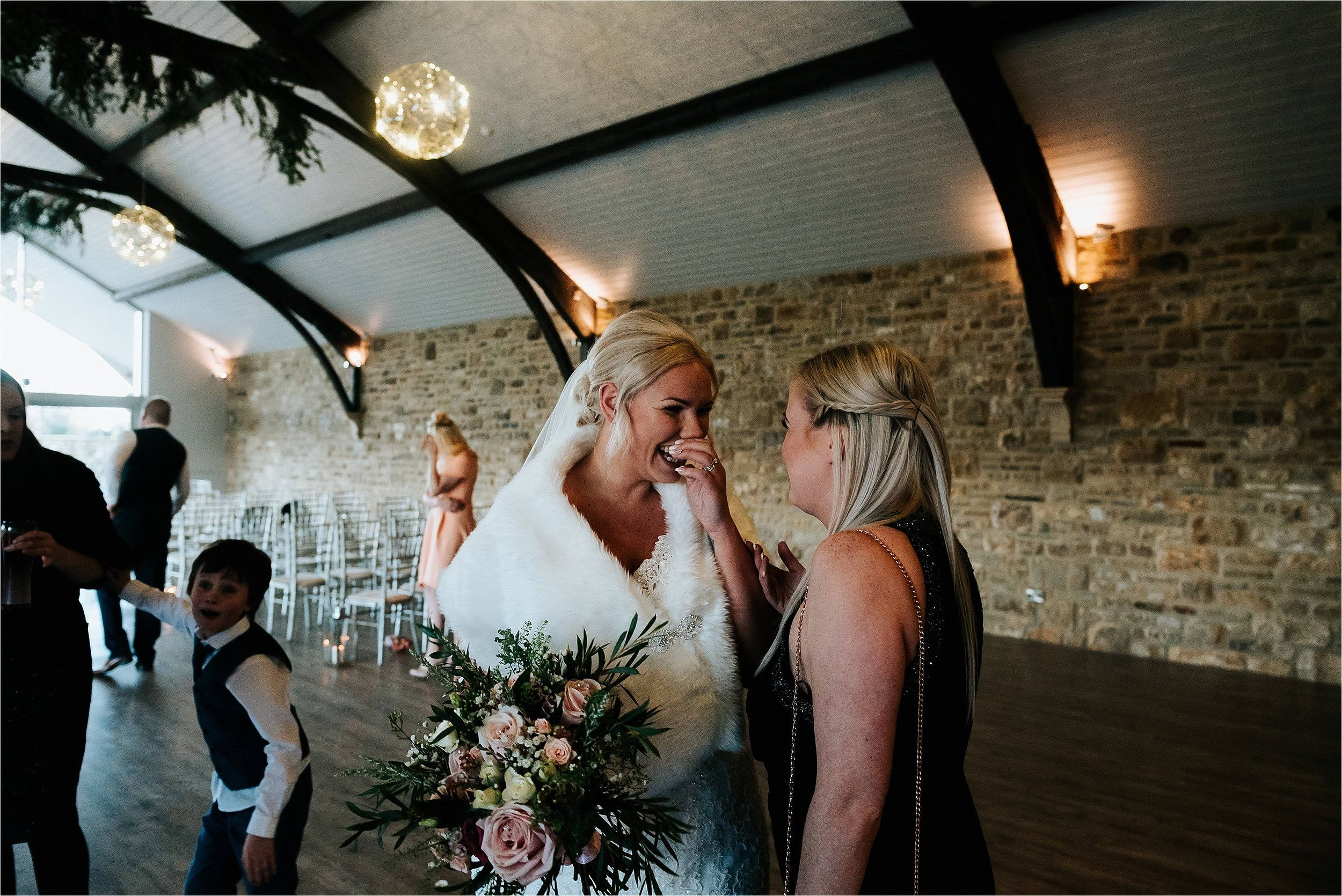 bride and guest at wedding