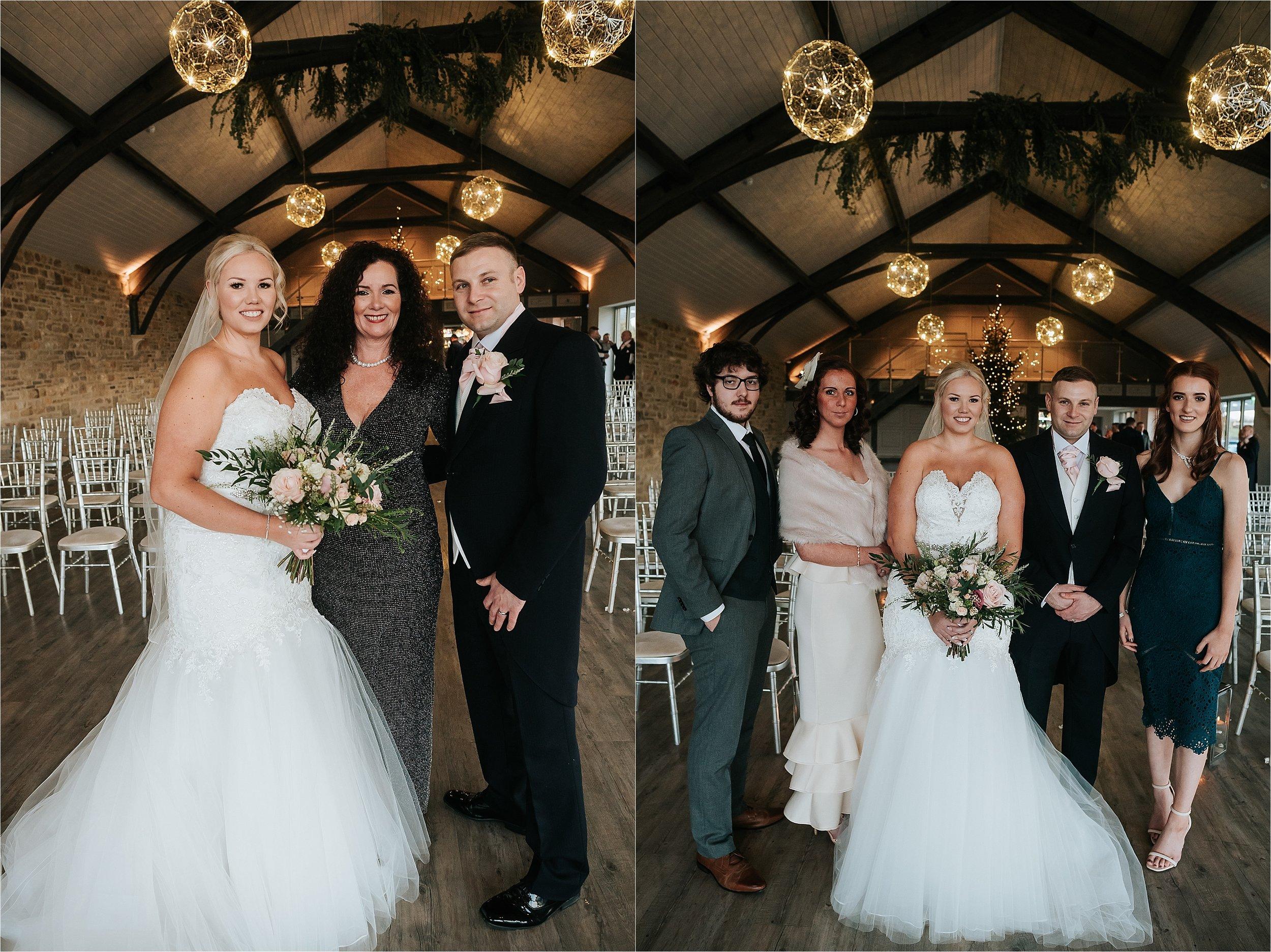 wedding group portraits indoors