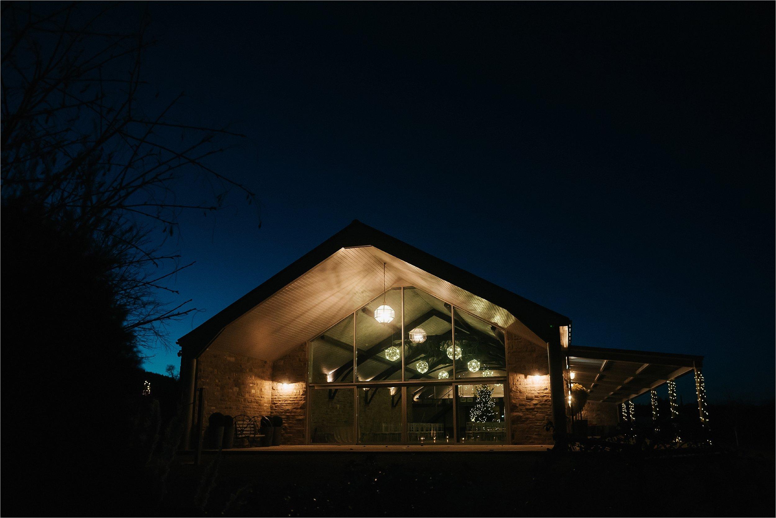 night time photograph of yorkshire wedding barn