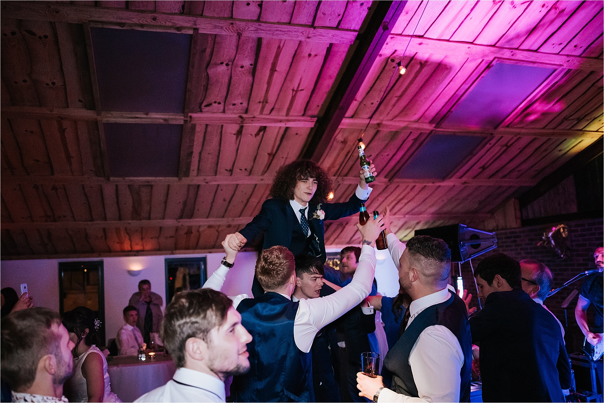 wedding party at owen house wedding barn, cheshire