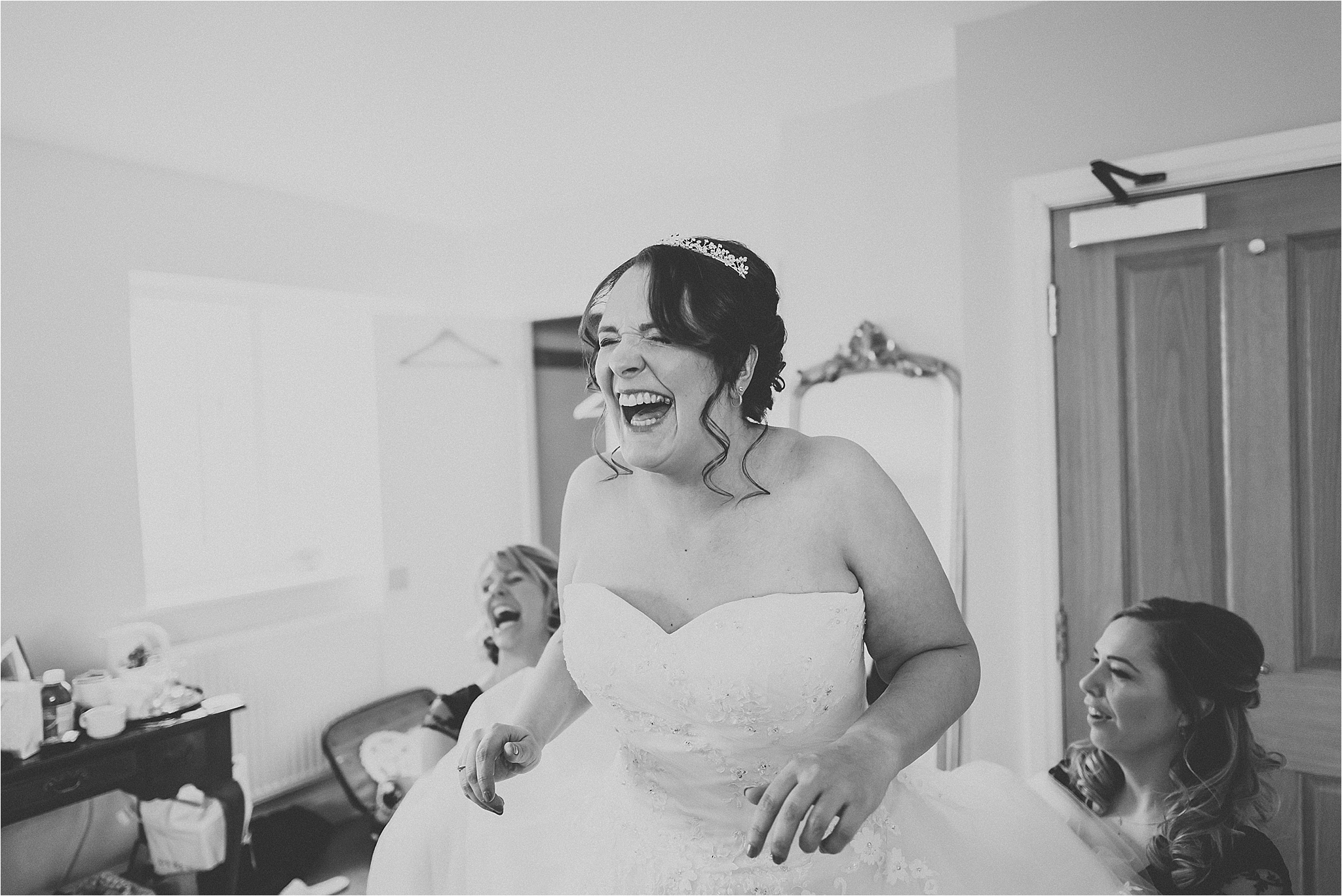 bride laughing at wedding at wrea green, fylde coast