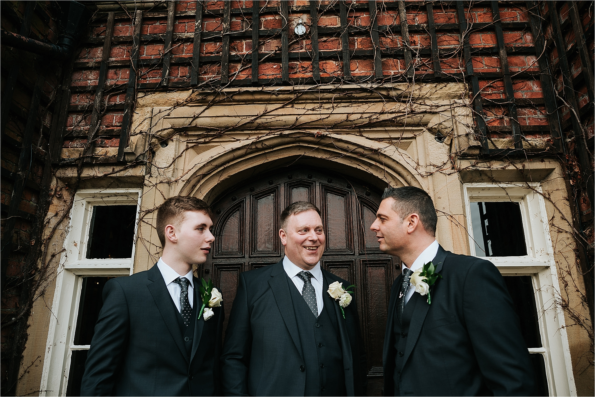 groomsmen outside the villa, wrea green