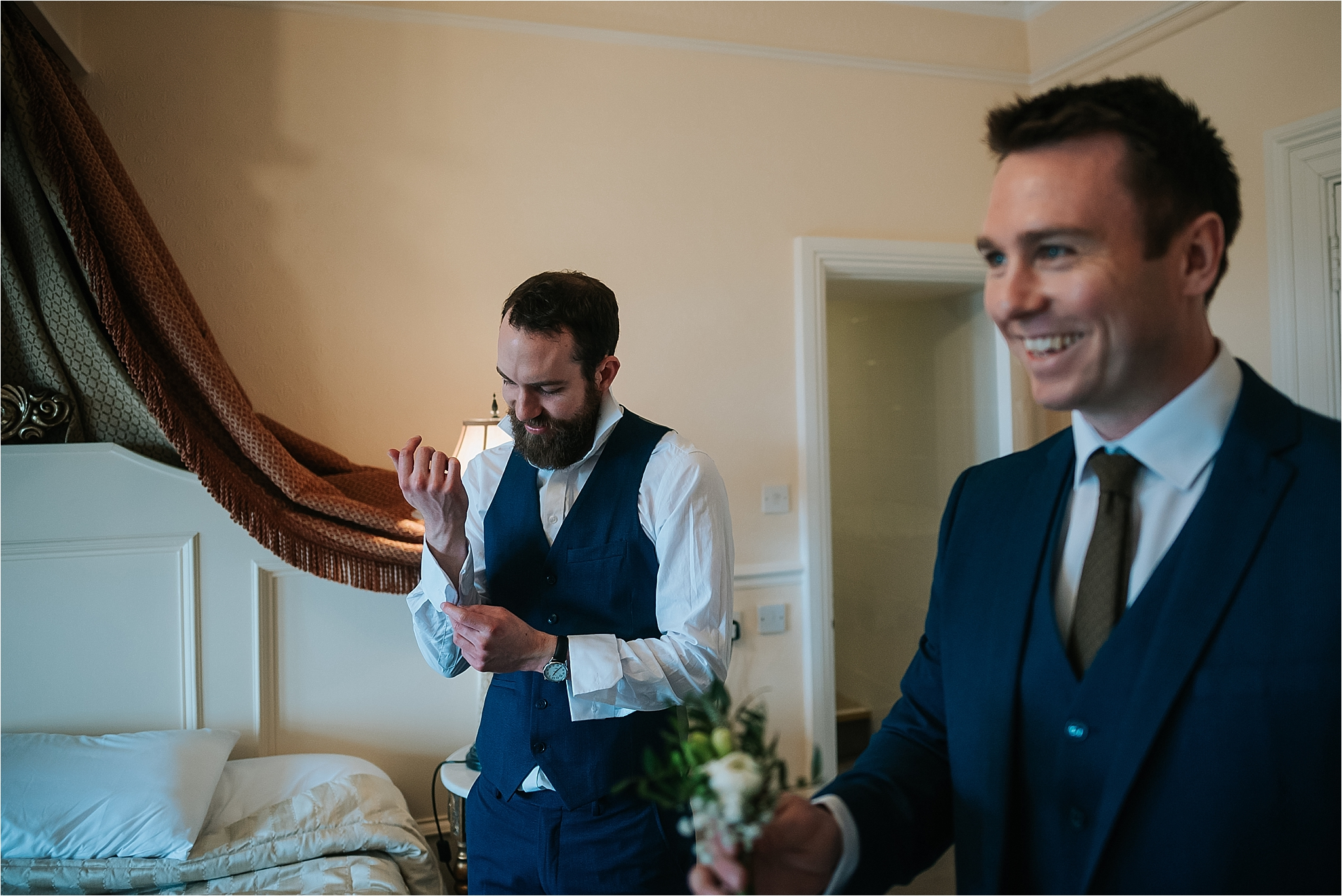 groom getting ready for wedding at grange hotel