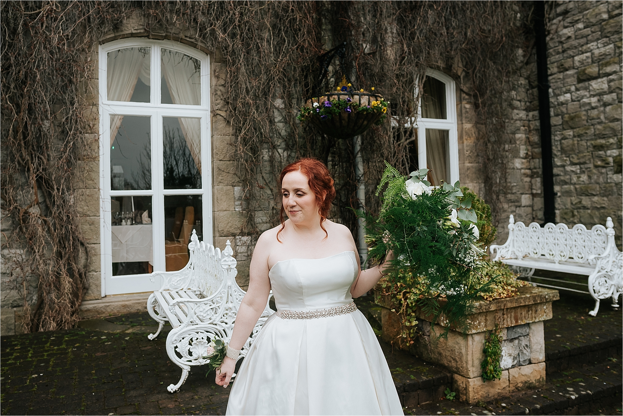 bride with wedding flowers by the flower farm
