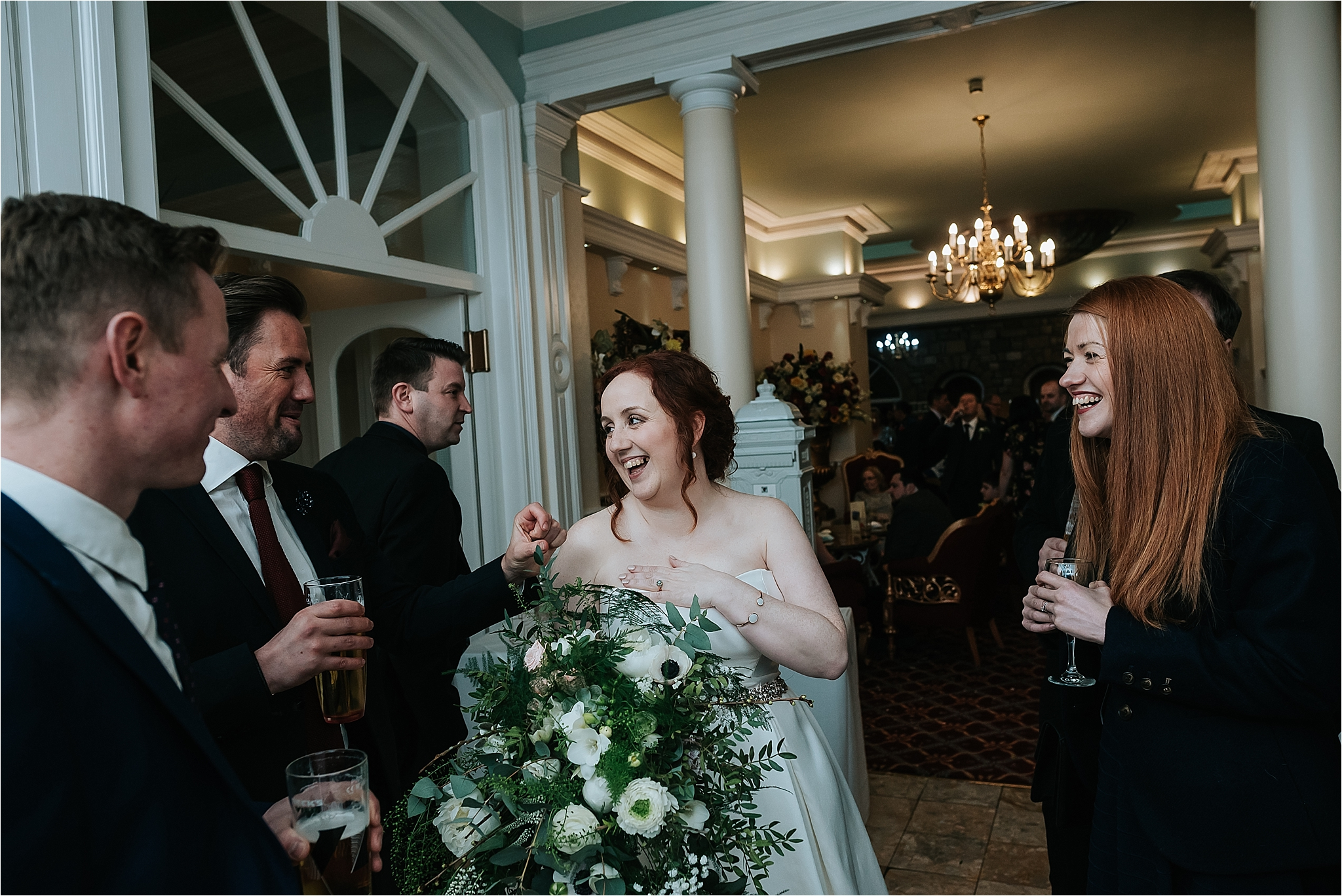 bride with friends at grange wedding