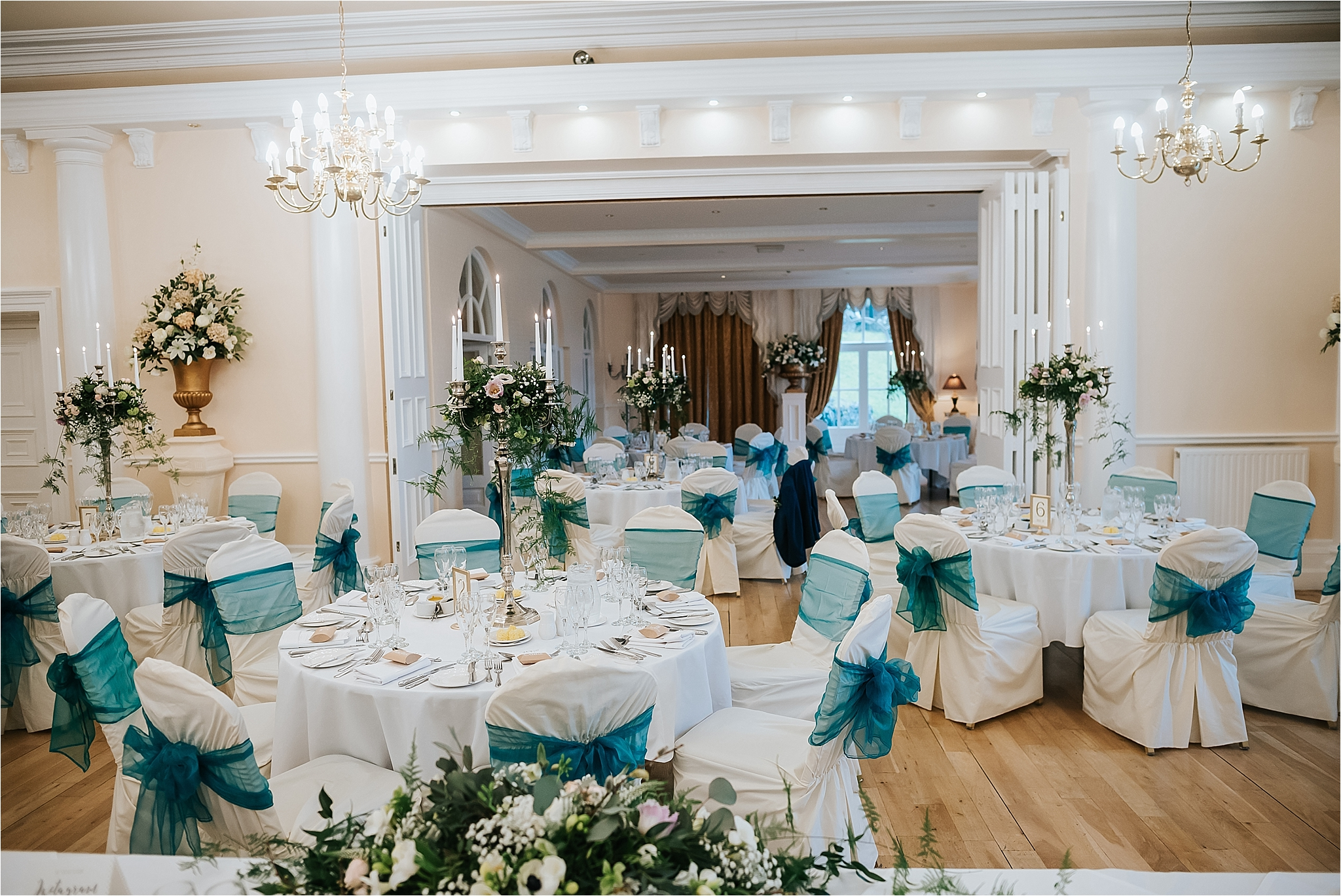 grange hotel laid out for wedding breakfast