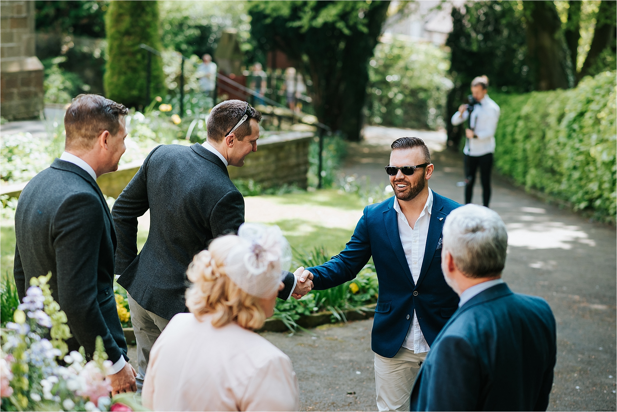 guests arrive at church for wedding