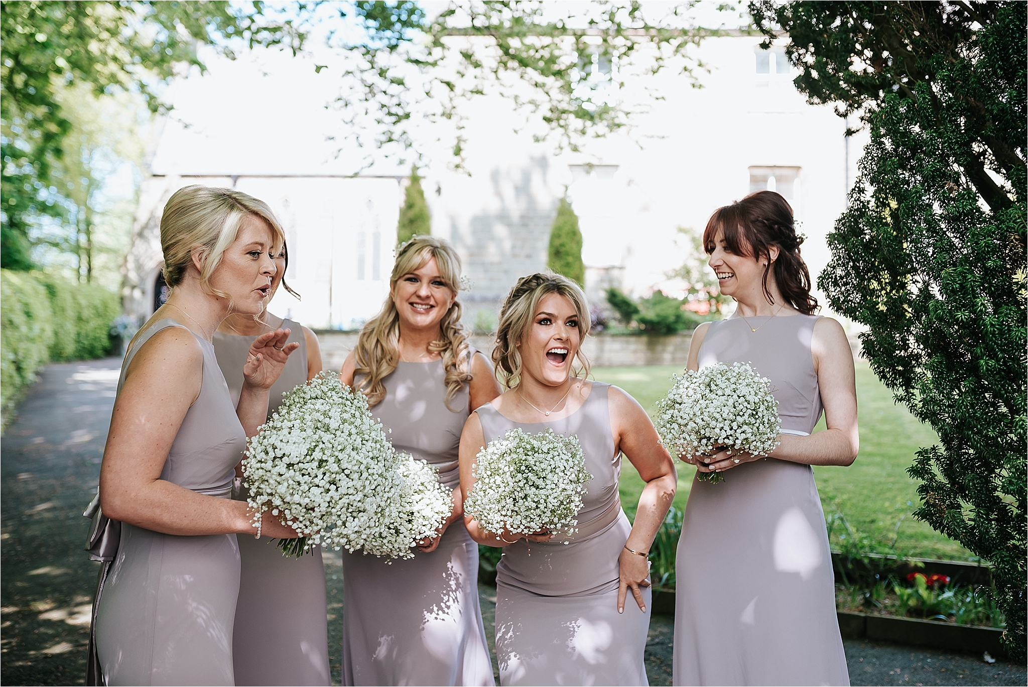 bridesmaids outside st marys and st james church scorton