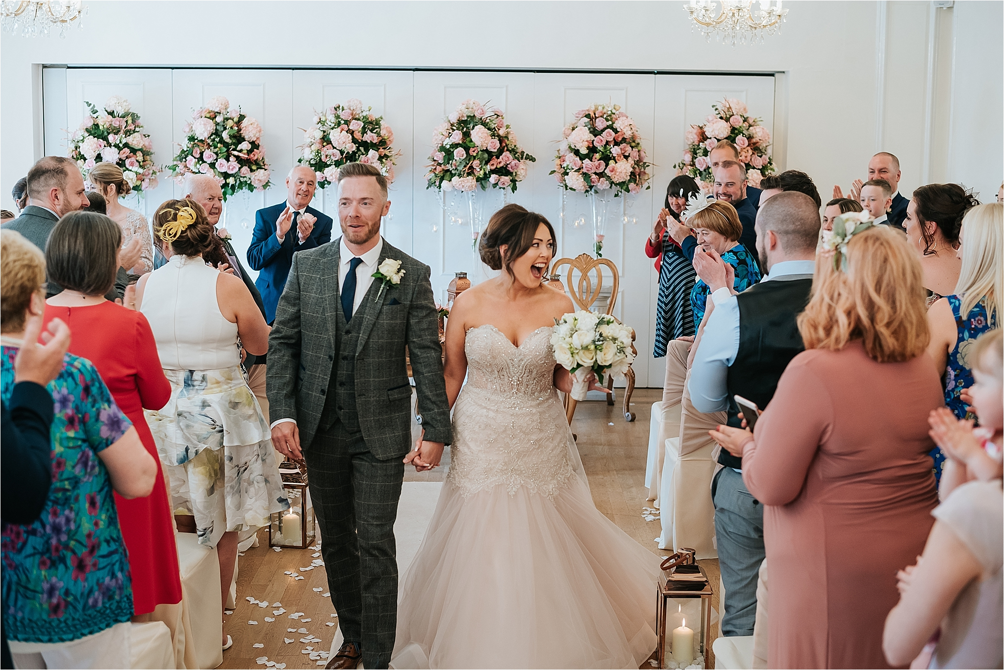pink and gold wedding ceremony at west tower
