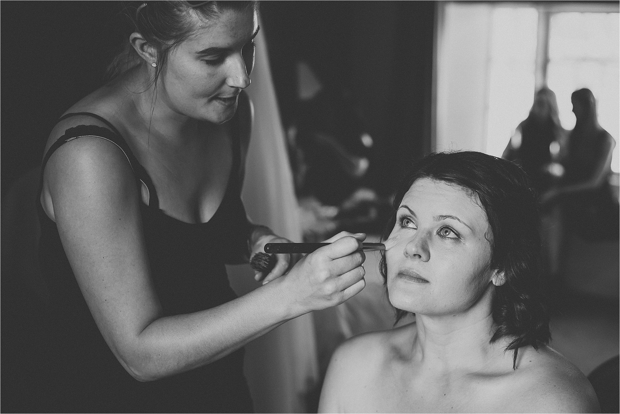 Bride gets her make up done by Rebecca carla