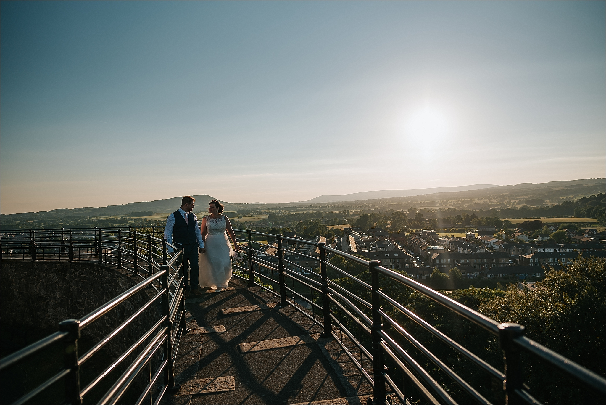 Couple enjoying the view at clitheroe castle