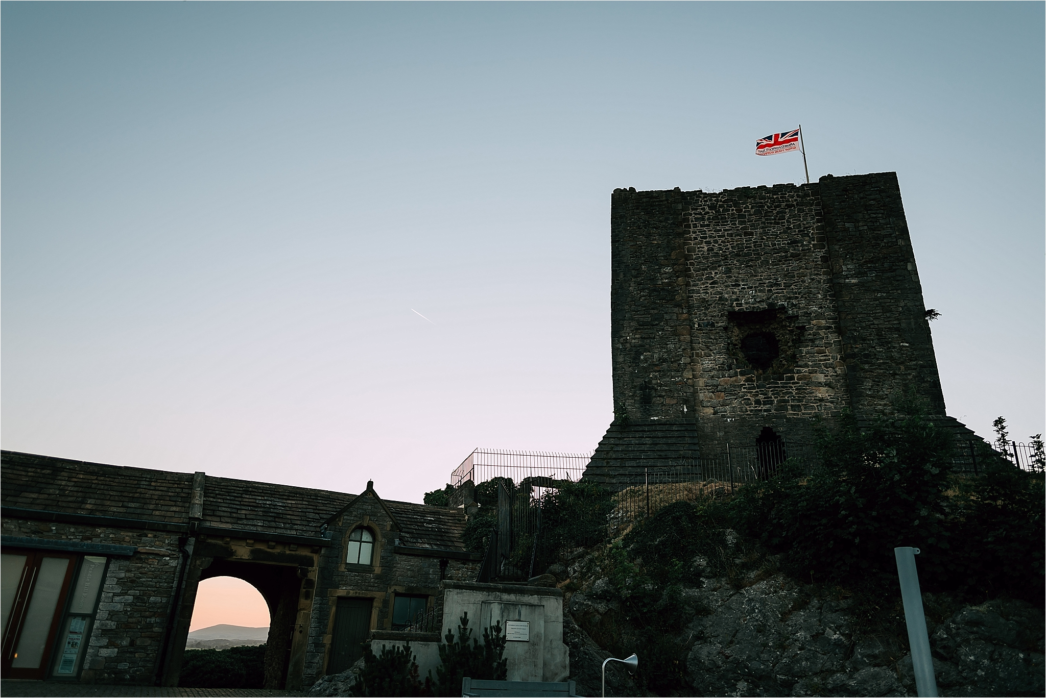 Clitheroe castle at sunset