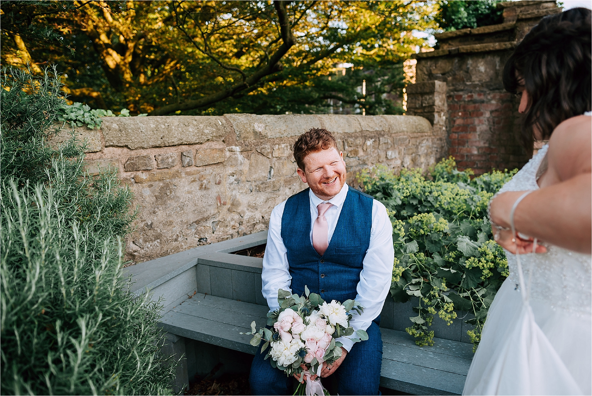 Groom after his wedding at the atrium at clitheroe castle
