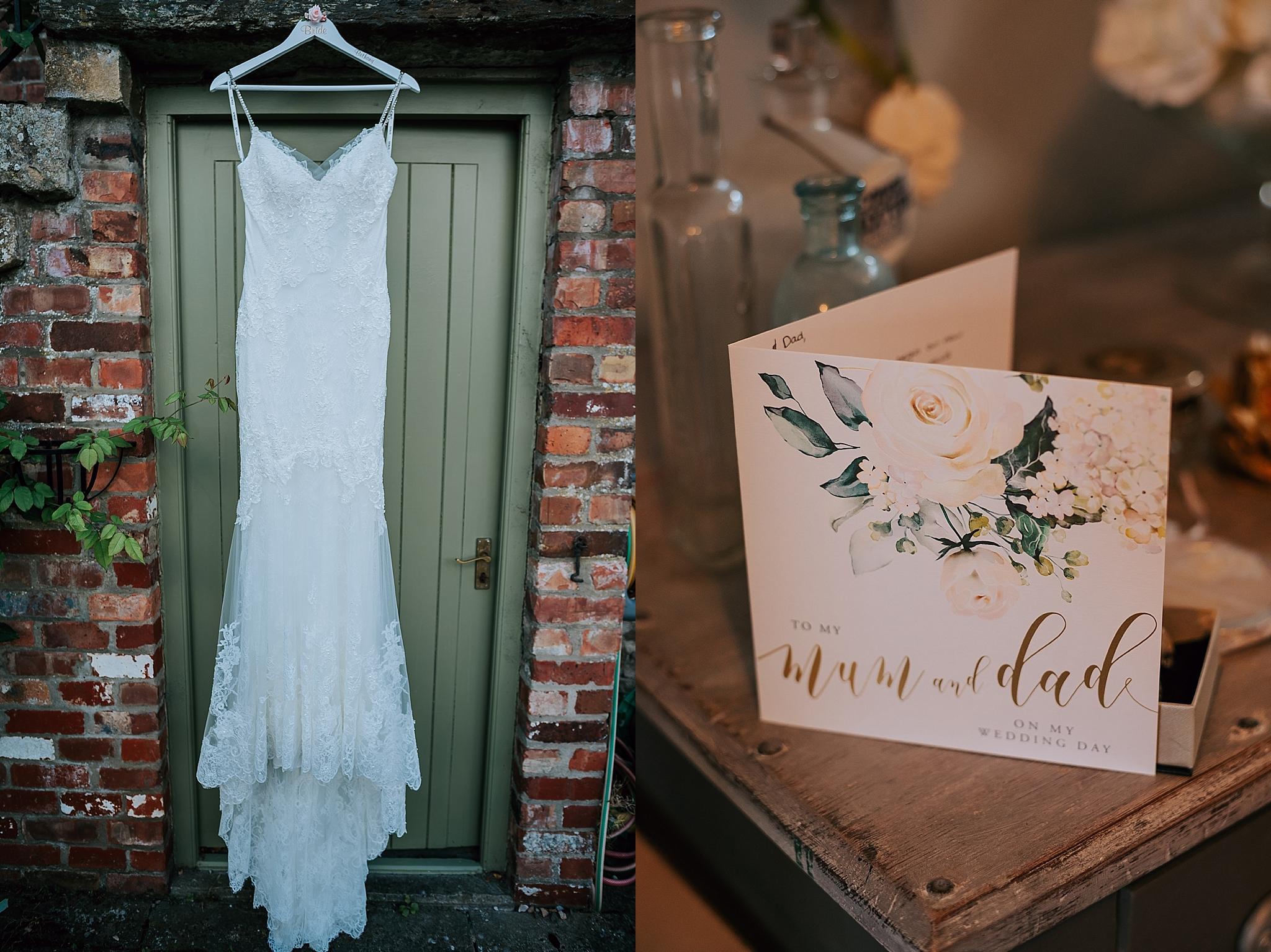 Wedding dress hanging at skeeby lodge in darlington