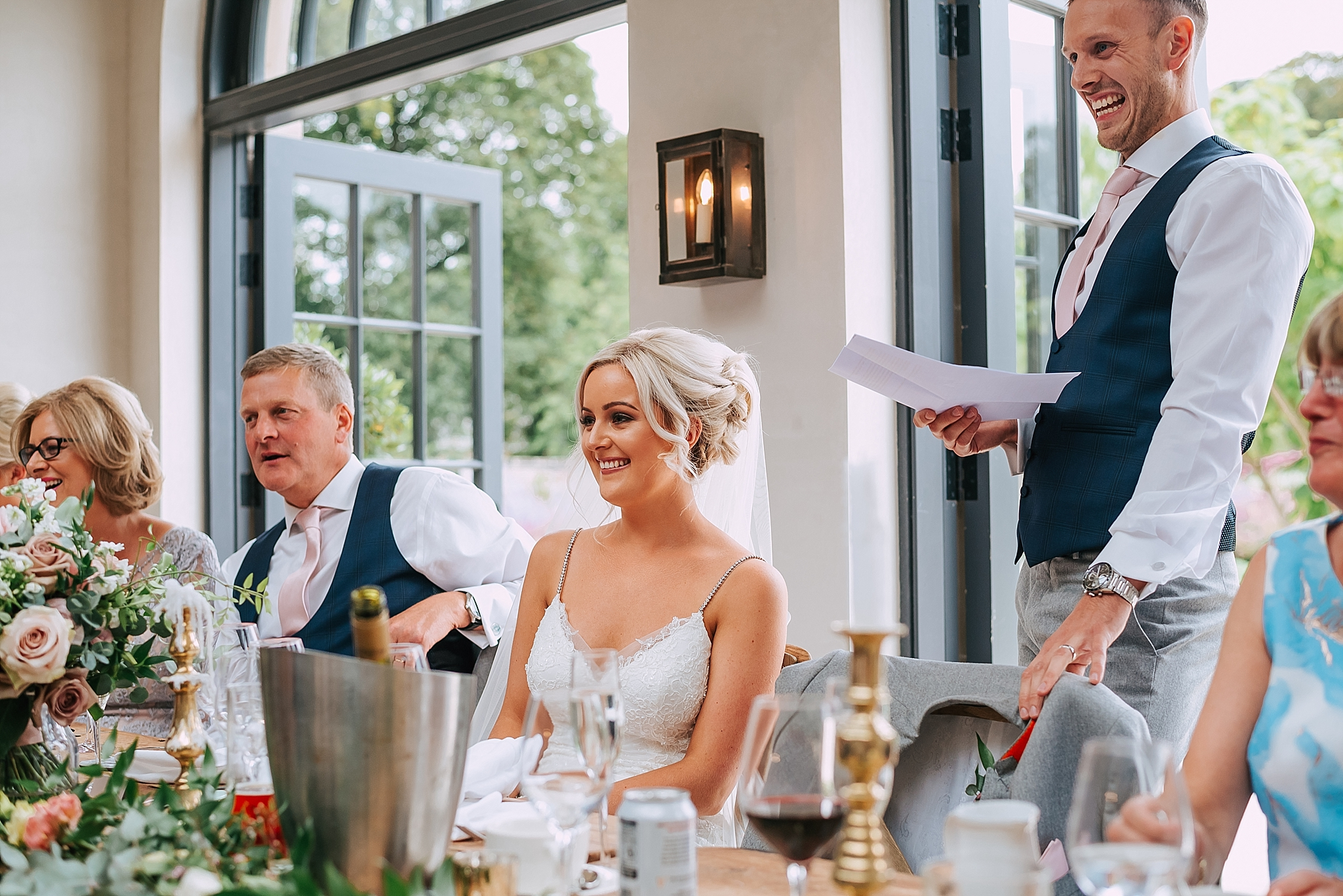 groom does his speech at fig house