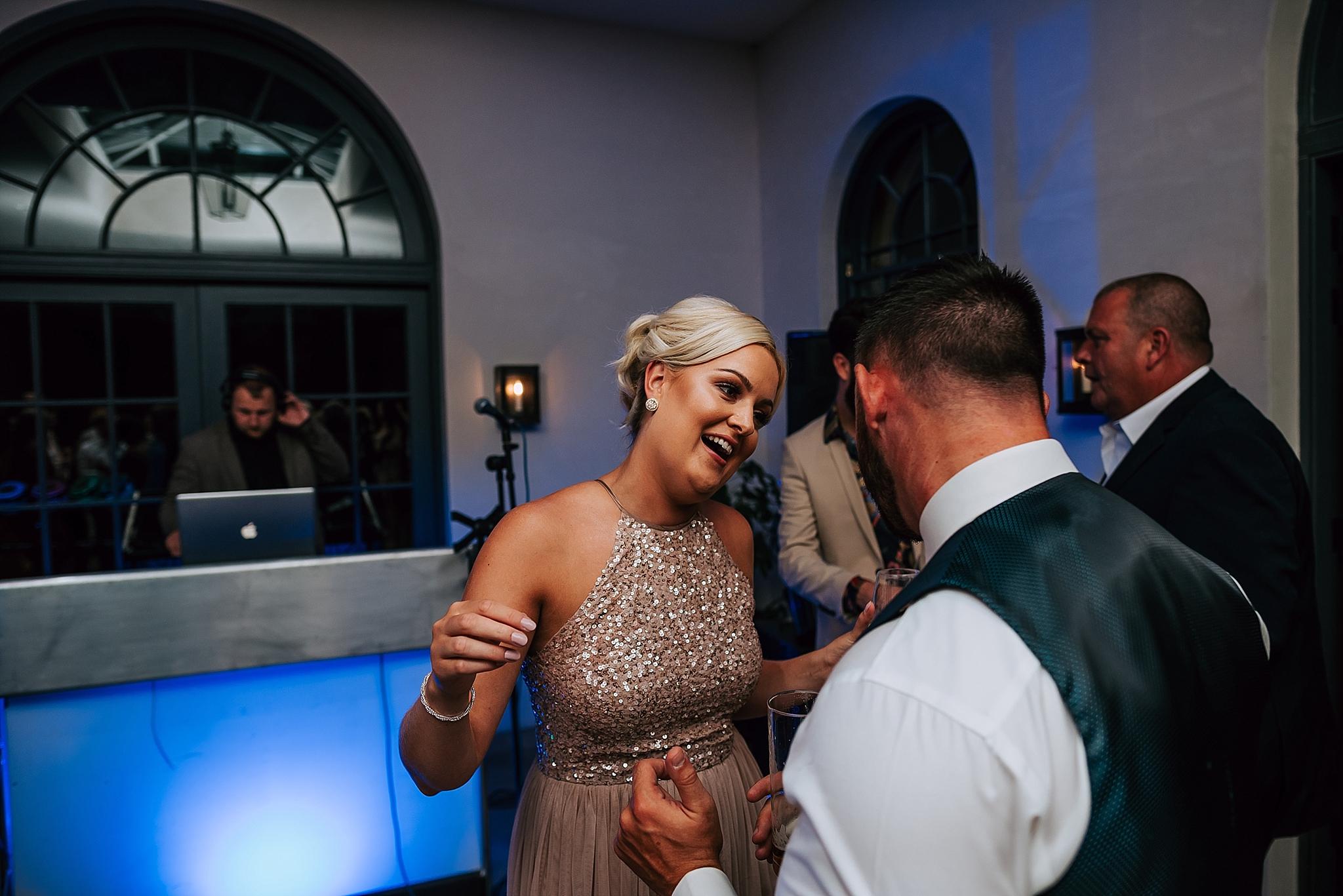bridesmaid dancing at middleton lodge wedding