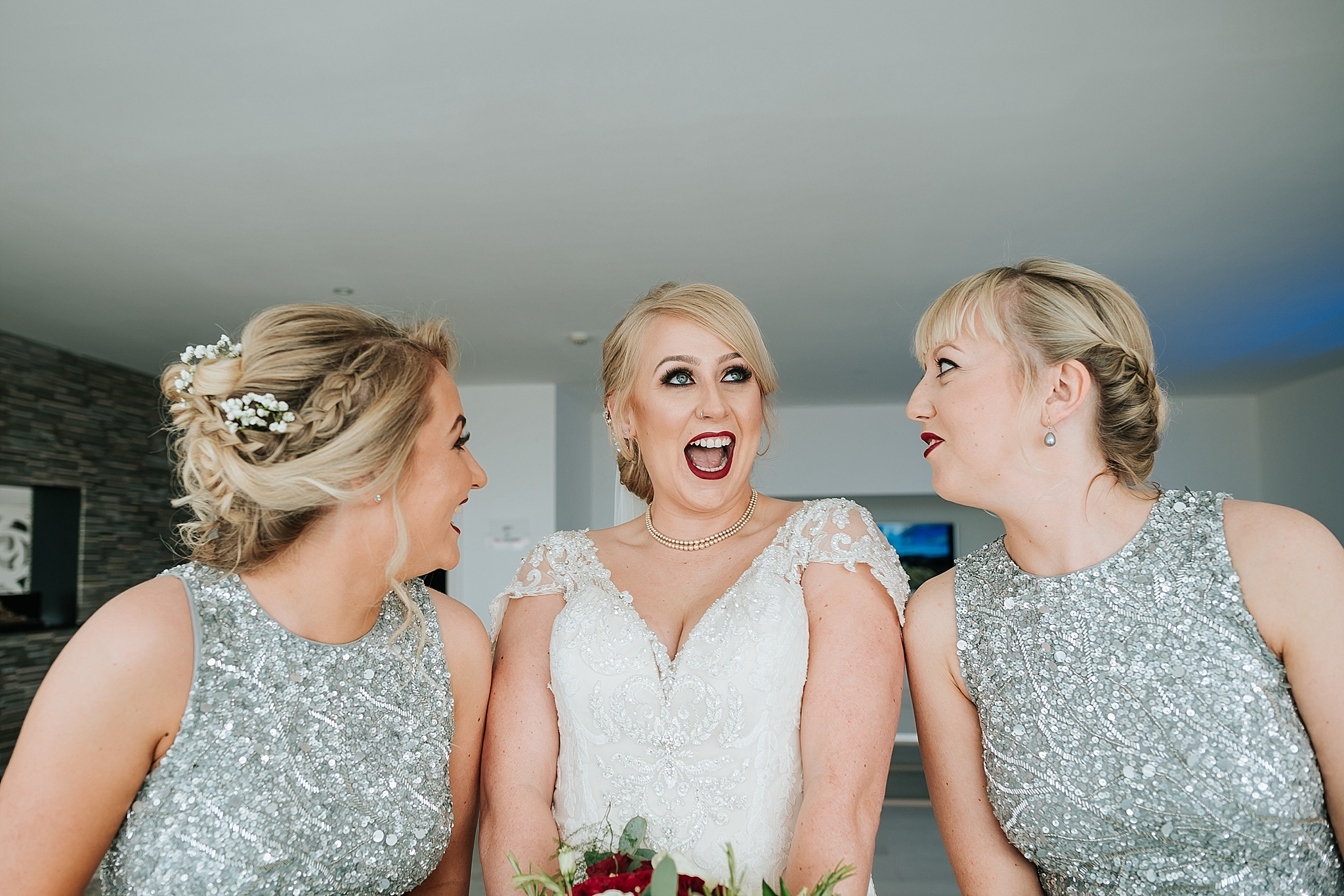 bride and bridesmaids before wedding at st annes palace