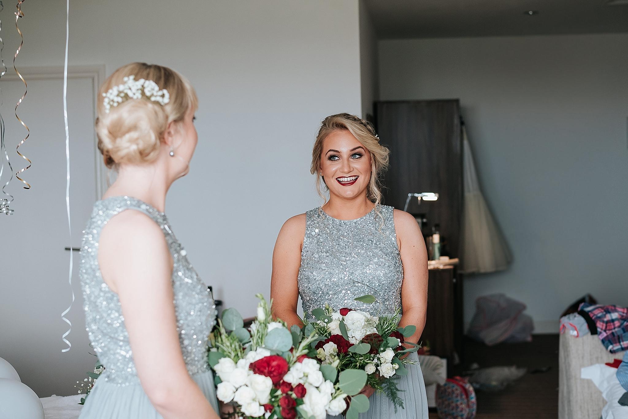 happy bridesmaid before wedding