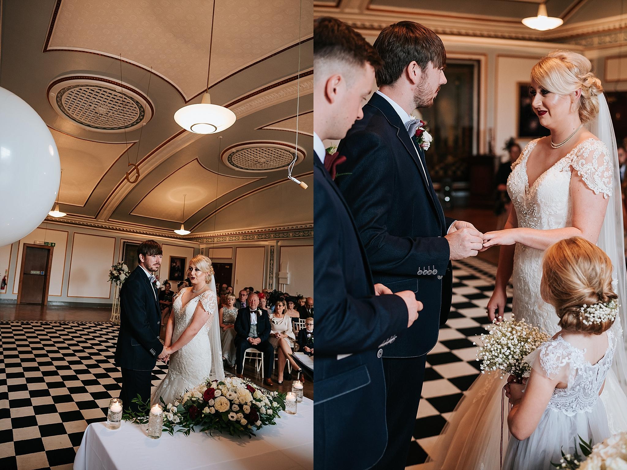 1940s style wedding in vintage wedding venue